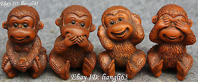 Old Chinese Wood No Look Say Listen Move Monkey Monkeys Animal Statue