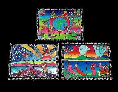 U.n.1992, Peter Max Earth Summit,  Blks/4, Mnh, All 3 Offices Nice!! Lqqk!!!