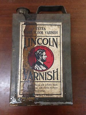 1900 Antique Advertising ABE LINCOLN Paint Color Varnish Tin 1/2 Gal Original