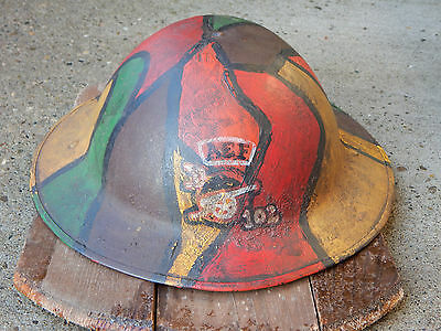 WWI US CAMO HELMET American Expeditionary Forces (AEF) 102nd Field Artillery Reg