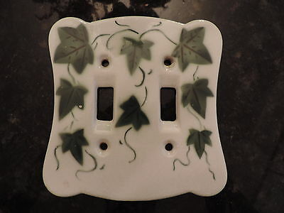 Vtg Porcelain Wall Double Switch Plate Light Switch Cover Ivy Cardinal China Co