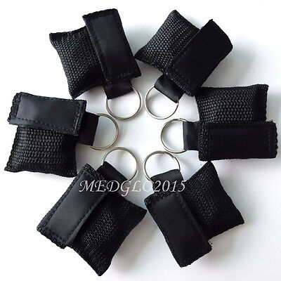 100pcs CPR MASK WITH KEYCHAIN CPR FACE SHIELD AED BLACK COLOR NEW