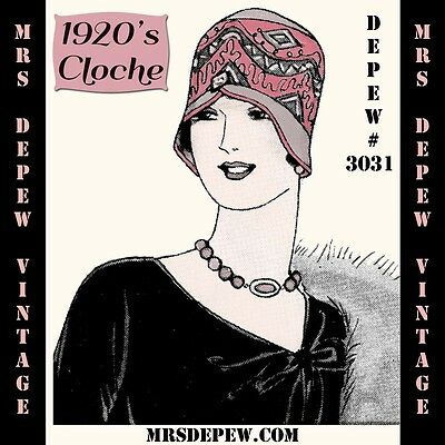 Vintage Sewing Pattern Instructions 1920's Cloche Hat Flapper, Downton #3031