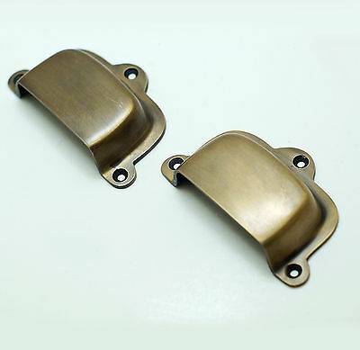 Lot 2 pcs Vintage Classic Retro BIN Pull Solid Brass Cabinet Drawer Handle Pull