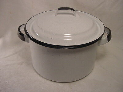 Vintage White Enamel Metal Two handle Pot with Lid NICE