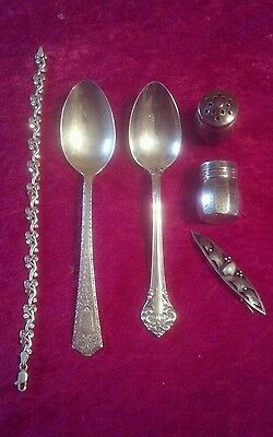 57 Grams Sterling Silver Scrap / Wearable Jewelry / Salt pepper / Spoons.