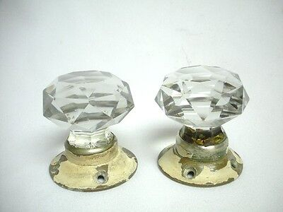 Pair Antique Large Cut Glass Door Knob Old Victorian Hardware Set