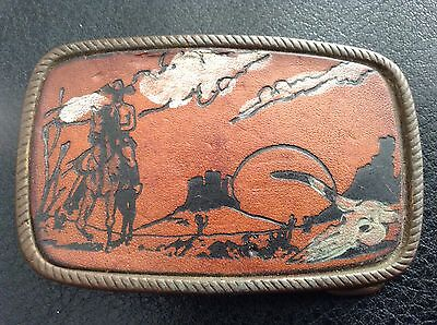 Vintage Leather / Metal Western Cowboy Belt Buckle