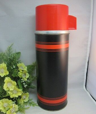 Vtg Aladdins Topsall metal thermos bottle.Black & red stripes. Quart.Clean