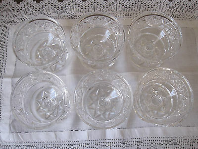 Set Of Six Stunning Heavy Cut Crystal Footed Dessert Comports