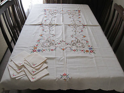 Vintage Unused Cross Stitch Floral Embroidered Tablecloth & Six Napkins