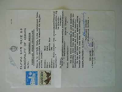 1964 Municipality of Asmara Veterinary Health Certificate Franked w/2 Stamps