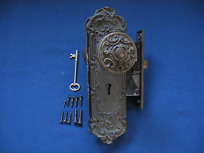 Antique Ornate Reading Hardware Majestic Victorian Eastlake Brass Door Lockset