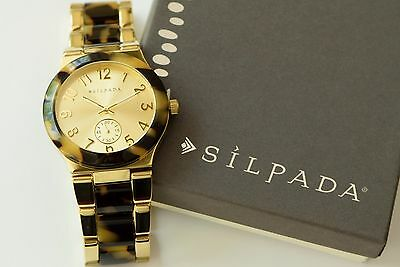 "Silpada NEW ""Timeless Tortoise"" Resin Stainless Steel Gold Tone Watch KRT0061"
