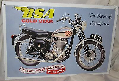 Vintage BSA GOLD STAR Motorcycle High Relief Sign
