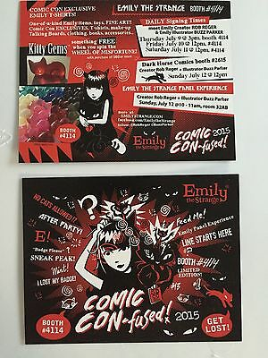 "SDCC 2015 Emily The Strange Promo Card D/S Mint 4.25"" X 5.5"" Collectible"