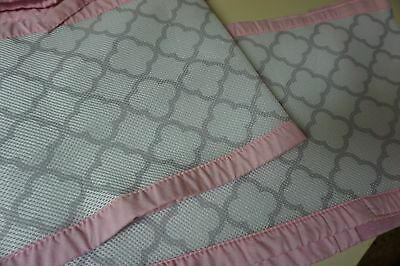 Breathable Baby Mesh crib bumper Pink white and grey- gently used