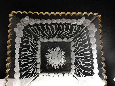 Victorian Engraved Glass Square Low Bowl Possibly Moser or other Bohemian Maker
