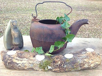Antique 1800's Iron Kettle w Gate & Primitive Rustic patina vtg. Hearth fire pot