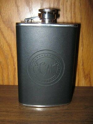 5oz Stainless Steel Flask - CM Leather Covered