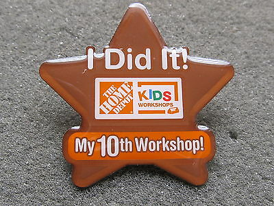 home depot collectibles kids workshop I did it 10th workshop lapel pin