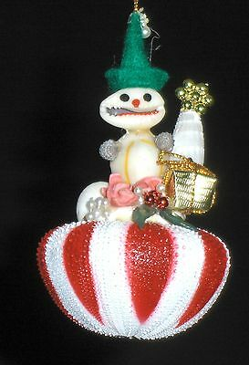 Two (2) Christmas Real Sea Shell Snowmen On A Striped Sea Urchin Ornaments