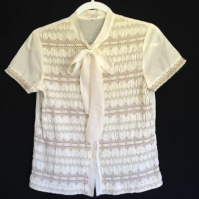 Vtg Lily Ivory Short Sleeve Button Front Smocked Blouse Top Size M