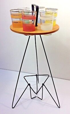 Excellent Mid Century Glasses Stand With Harlequin Frosted Glasses