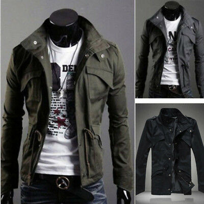 New Men's Thick Stylish Slim Winter Casual Coat Zip Jacket Warm Solid Overcoat P