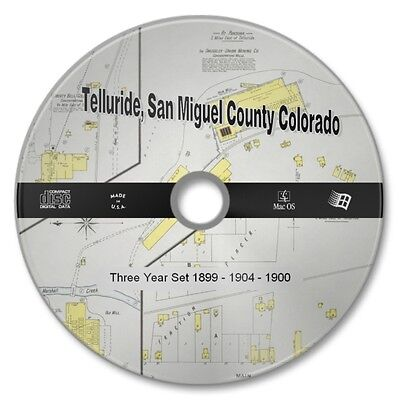 Telluride, San Miguel County Co 34 Color Sanborn Maps Sheets New CD 1899-1904/08