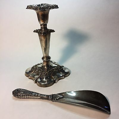 Victorian Silver Plate Candlestick and Shoehorn