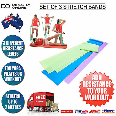 Resistance Stretch Bands Exercise Workout Pilates Yoga Set 3 Different Levels