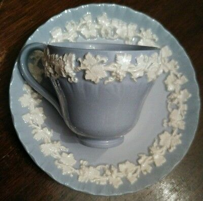 Wedgwood QUEENSWARE Cream on Lavender Blue Shell Edge Demitasse Cup and Saucer
