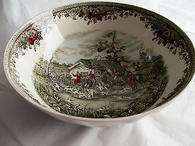 "JOHNSON BROS TALLY HO ""Stirrup Cup"" 12 1/4"" Punch Bowl MADE IN ENGLAND Fox Hunt"