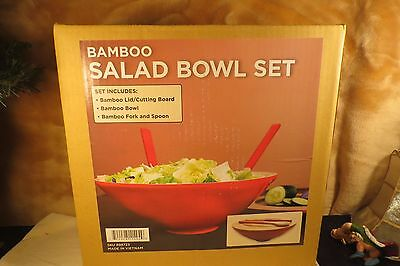 New Red Made in Vietnam 4 Piece Bamboo Salad Bowl Set The Lid/Cutting Board NIB
