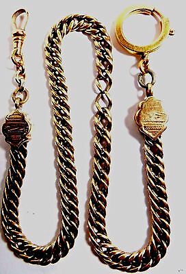 "Vintage Pocket Watch Gold Filled Swivel  Fob Chain 15"" Long Weight 27.40 Grams"
