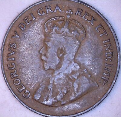 1921 Doubled Die One Cent Canada - Semi-Key !! Better Date !! - Free Shipping