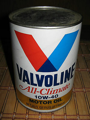 Valvoline All-Climate 10W-40 Motor Oil 1 Quart Collectible Vintage Oil Can Nice!