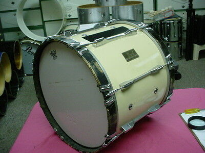"""Solid  PEARL  18"""" White  USA Marching Bass Drum No Res #14"""