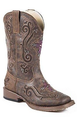 ROPER - Girl's Faith Square Toe Boots - Bling Cross - ( 18901098 ) - New