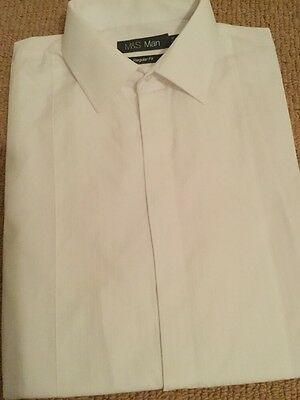 "White dress dinner shirt 16.5"" collar pintucks M&S formal cruise"