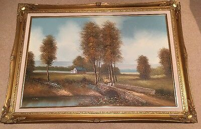 Large Oil Painting Signed By Artist A Fallas In Gold Frame