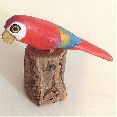 Beautiful Red Parrot On Tree Stump Base Hand Painted & Carved