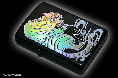 Zippo Oil Lighter Japanese Rainbow Tiger Tora 7 Color Beautiful Holographic F/S