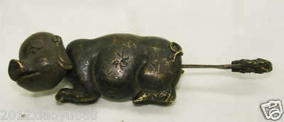 Rare Chinese old style Brass Carved Pig padlock lock and key