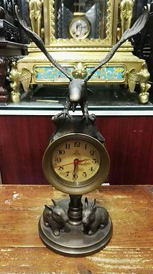 Collectible Decorated bronze Carved Eagle and two rabbit Mechanical Table Clock