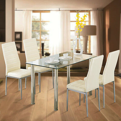 5 piece glass metal dining table set w4 chairs kitchen room breakfast furniture - Metal Dining Room Chairs