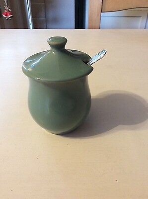 Bourne Denby Manor Green Jam pot and spoon
