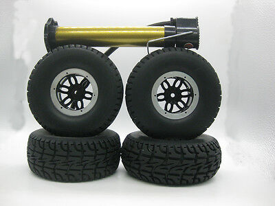 "4x 2.2"" Air Pneumatic 130mm Tires with Beadlock Wheels Set for 1/10 Rc Crawler"
