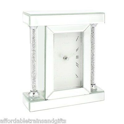 CLOCK Crystal Column Glass Clock ART DECO REPRODUCTION FREE STANDING MANTEL